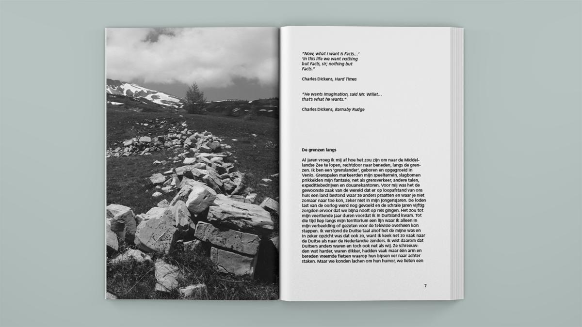 Boekontwerp voor 'De grenzelozen - een europese wandeling' van Jac Geurts