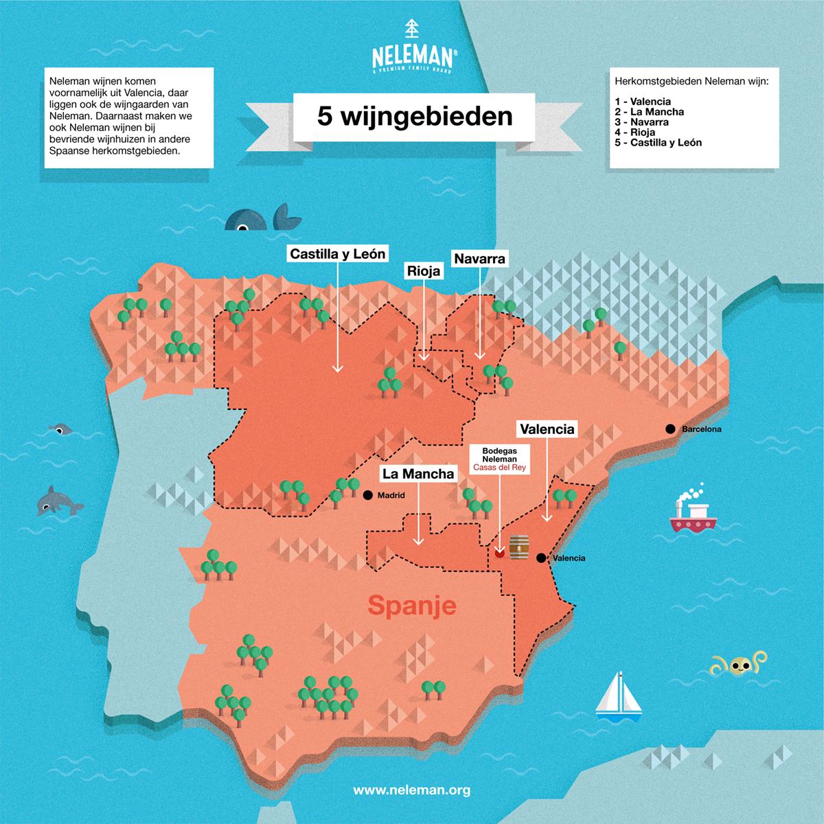 Wijngebieden kaart voor Neleman